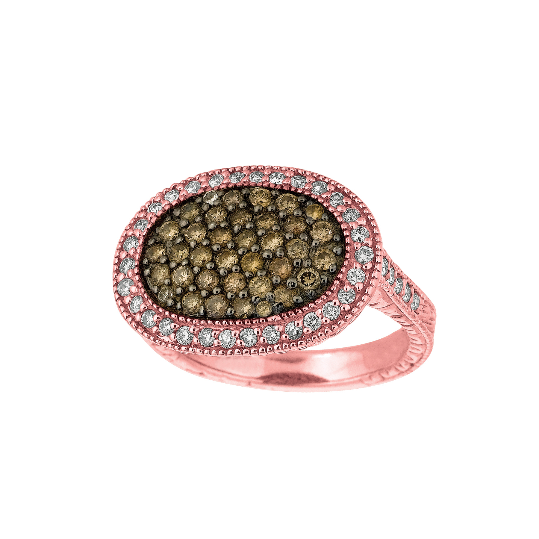 1.25 CT Champagne & white diamond oval shape ring Set In 14K pink gold IDJR6648P